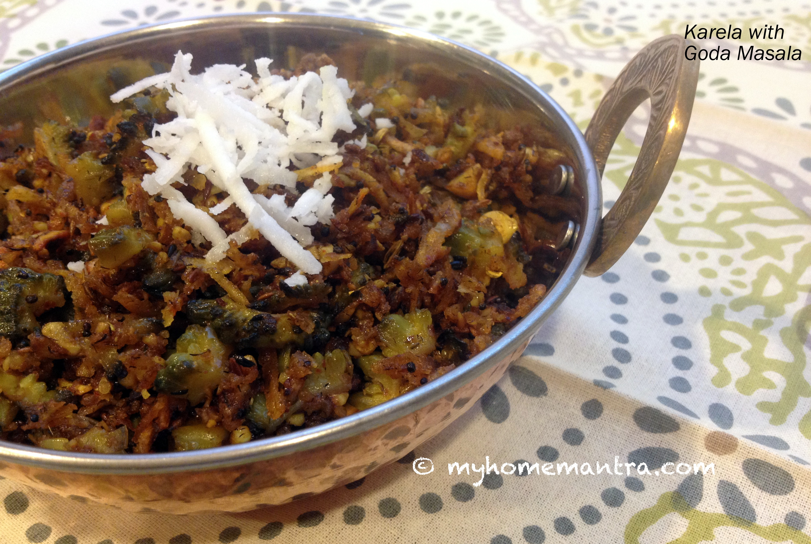 Fresh grated coconut myhomemantra karlyachi bhaji bitter gourd stir fry in maharashtrian style forumfinder Image collections